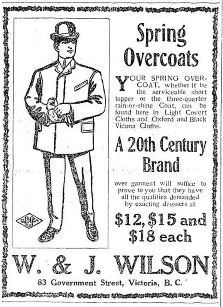 1907 advertisement for W. & J. Wilson, 89 Government Street, which is now 1221 Government Street (Victoria Online Sightseeing Tours collection)