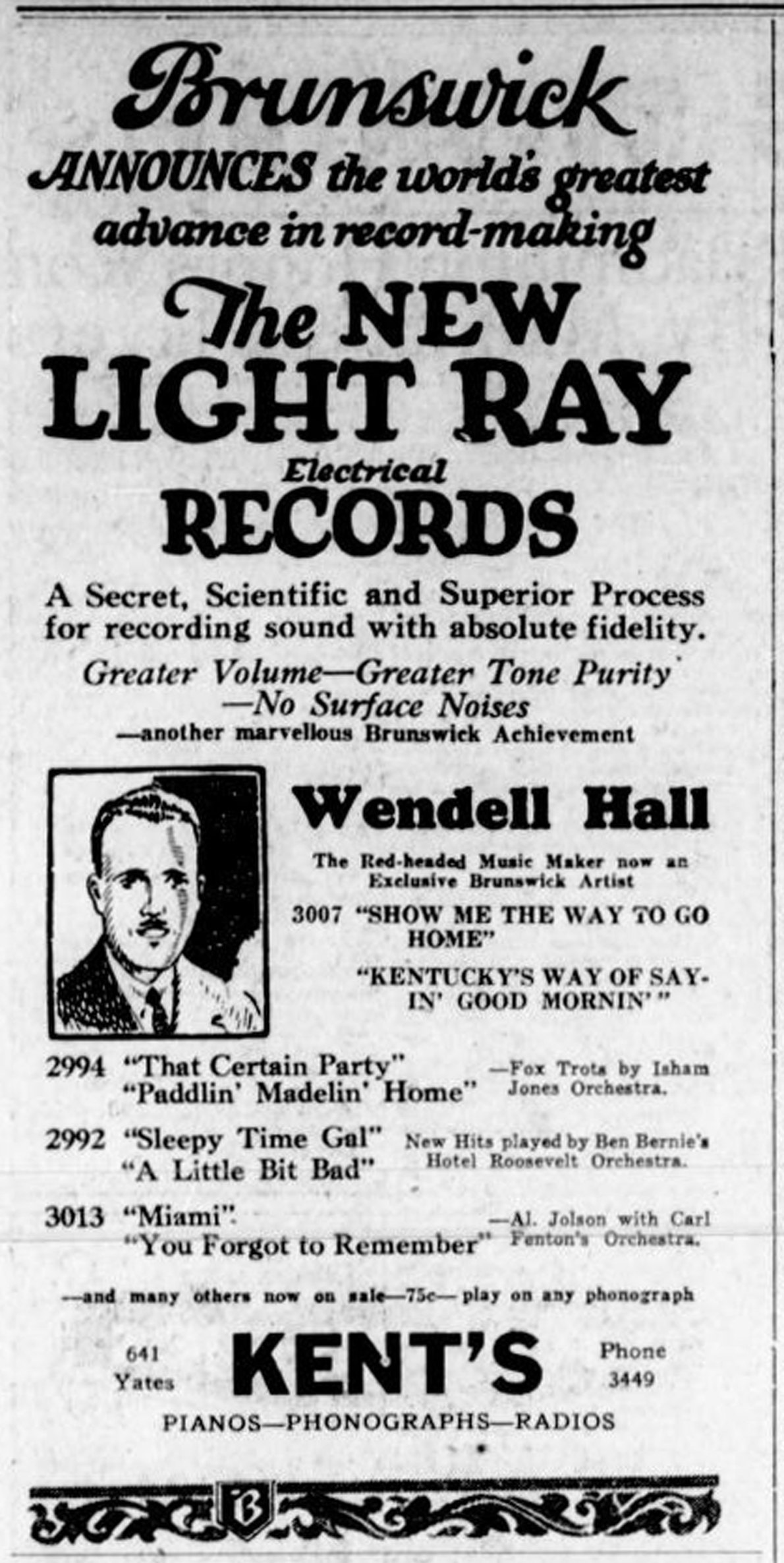 1926 advertisement for Brunswick Records, at Kent's, 641 Yates Street (Victoria Online Sightseeing Tours collection)