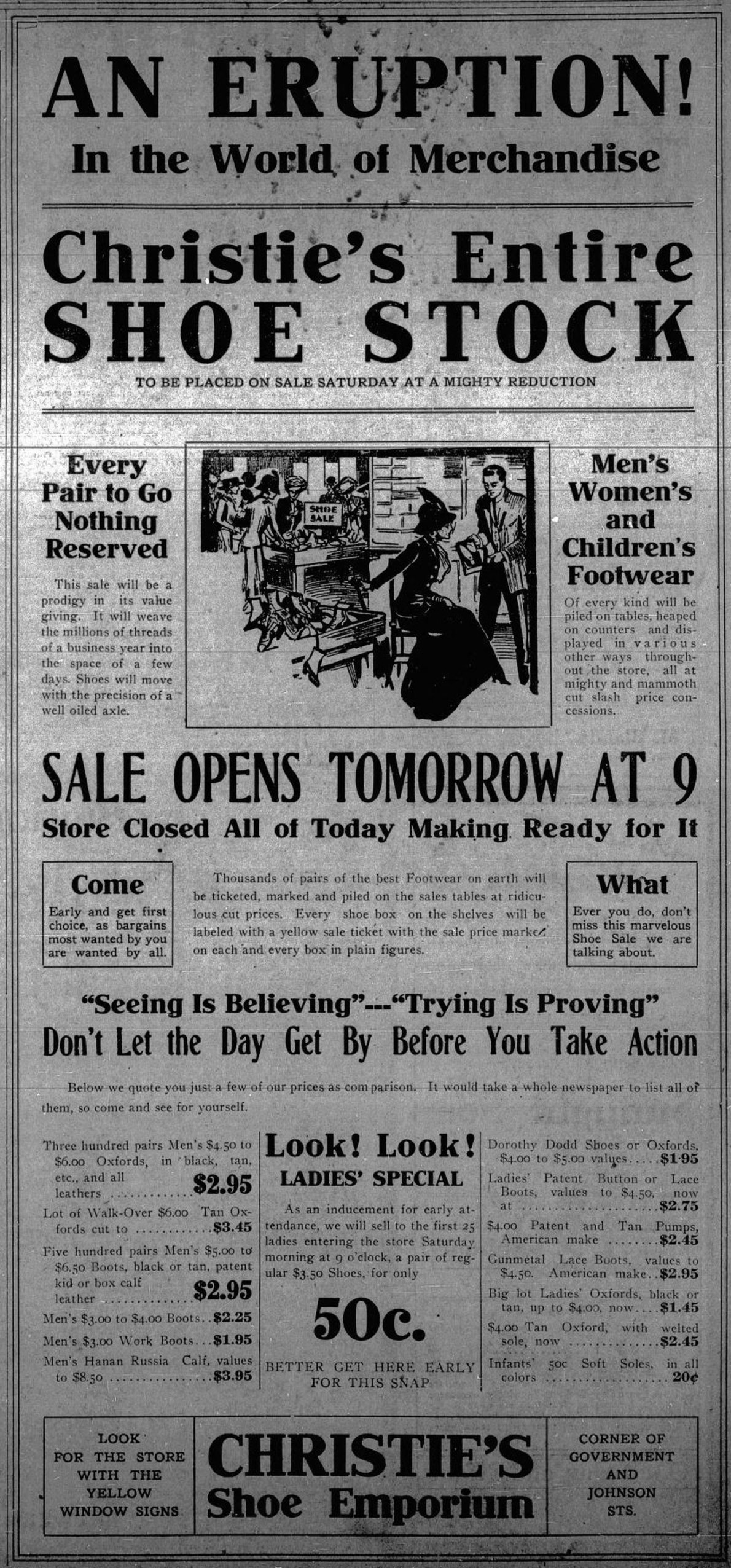 1912 advertisement for Christie's Shoe Emporium, 1328 Government Street. (Victoria Online Sightseeing Tours collection)