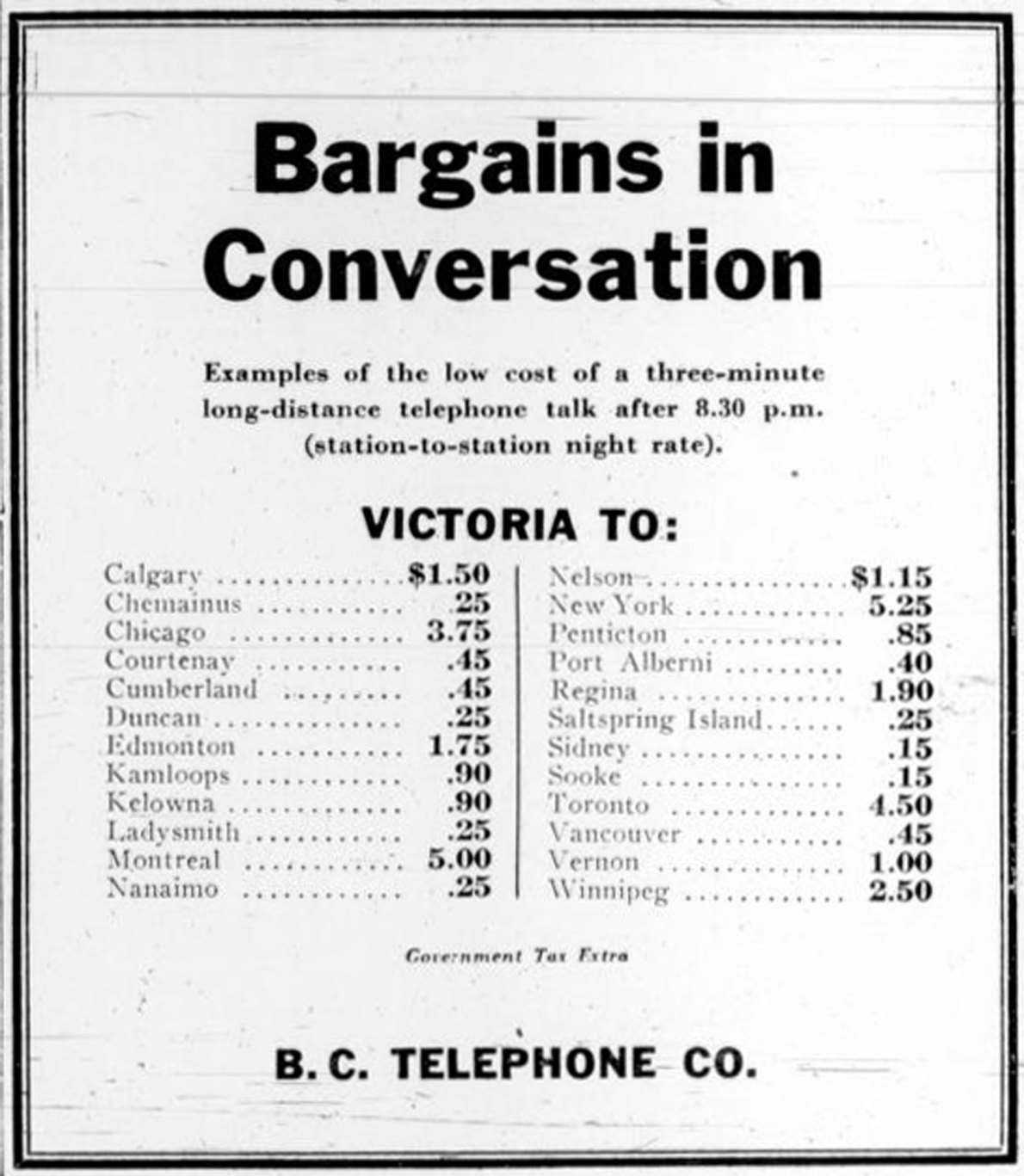 1935 advertisement for B.C. Telephone Company showing long distance rates from Victoria to other cities (Victoria Online Sightseeing Tours collection)