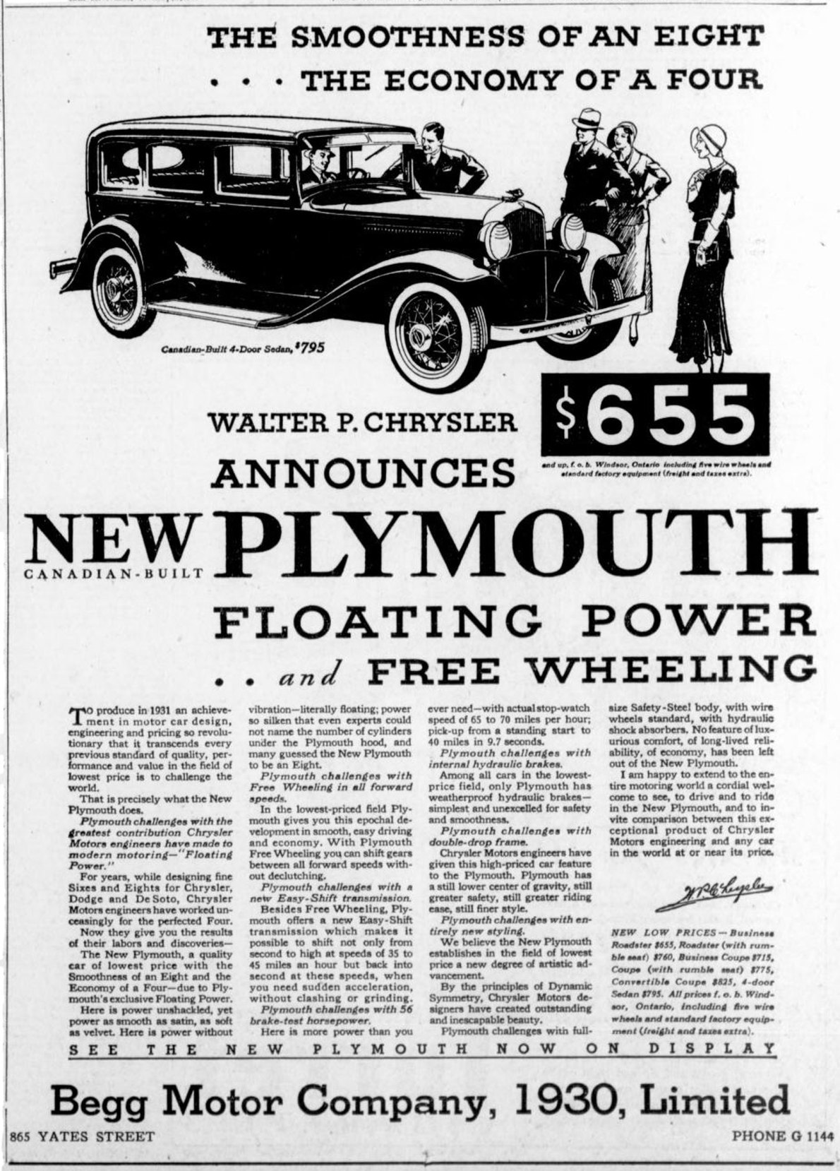 1931 advertisement for Plymouth, by the Begg Motor Company Ltd, 865 Yates Street Victoria Online Sightseeing Tours collection)