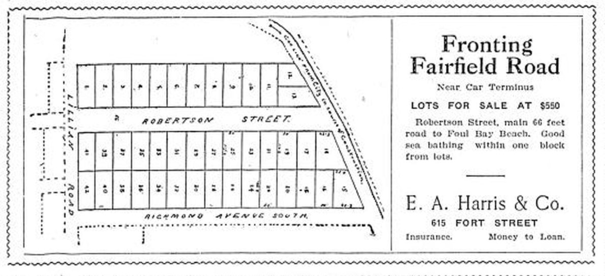 1909 advertisement for subdivided lots on Fairfield Road, Richmond Avenue and Robertson Street (Victoria Online Sightseeing collection)