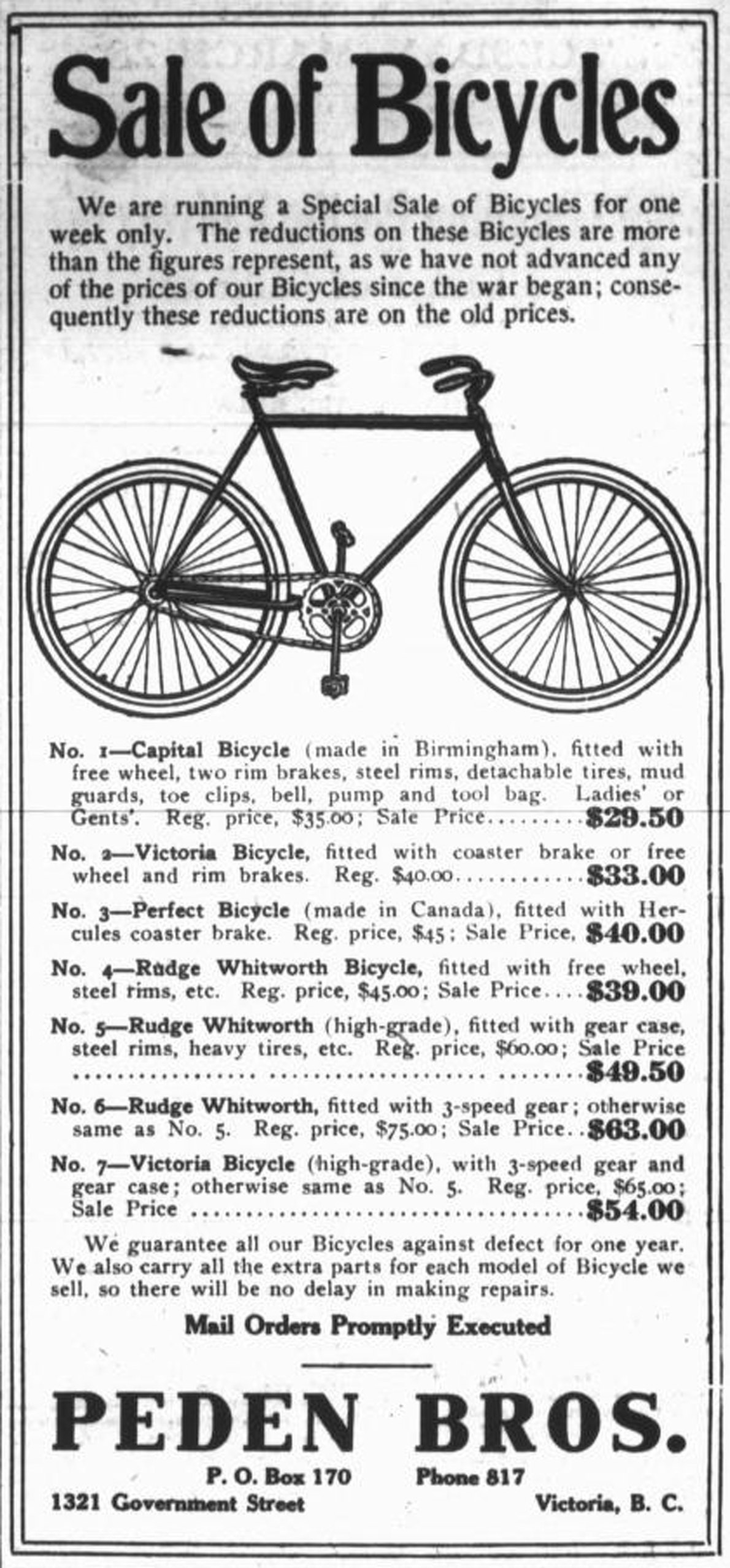 1916 advertisement for bicycles at Peden Brothers, 1321 Government Street (Victoria Online Sightseeing Tours collection)