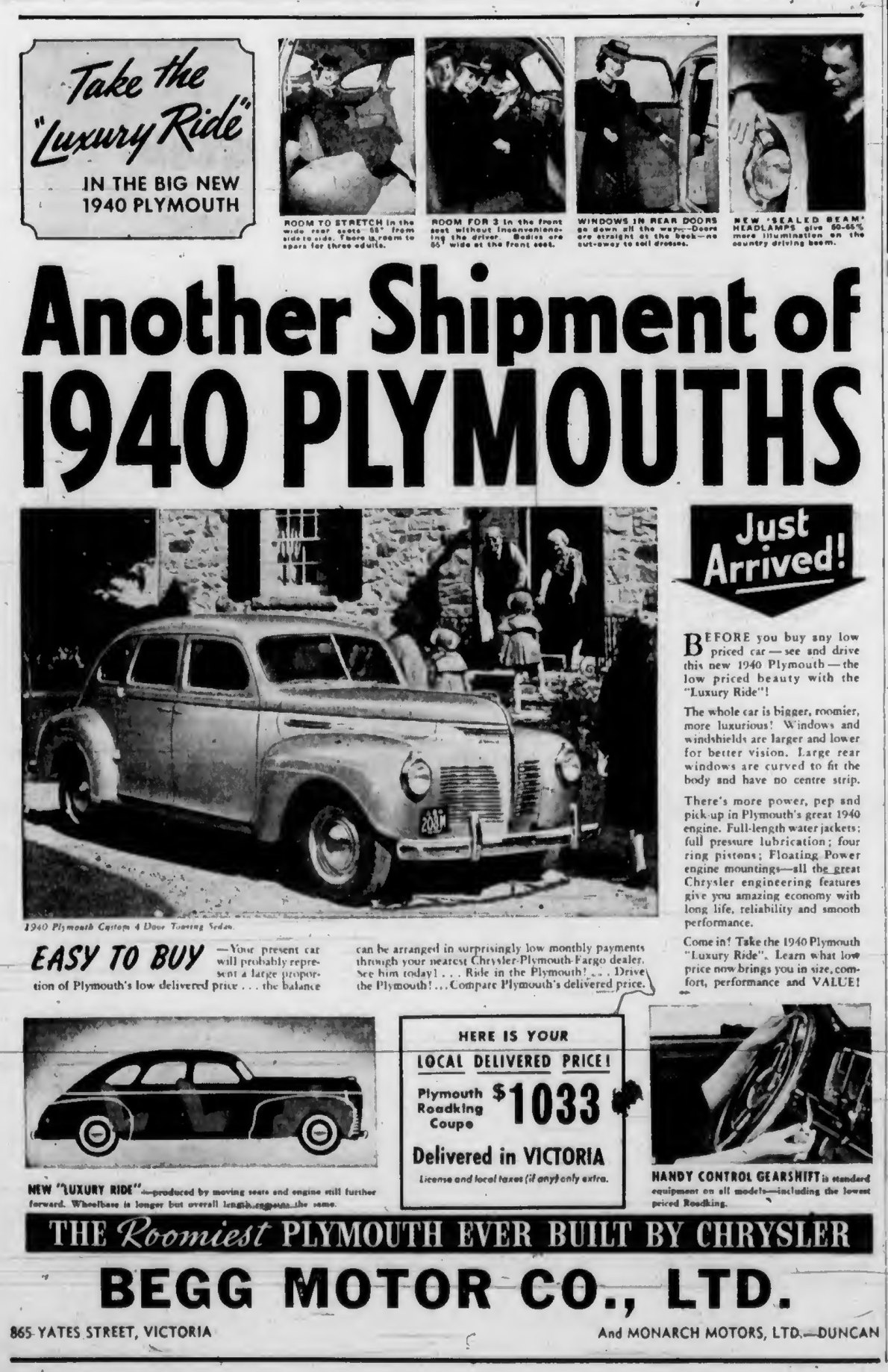 1940 advertisement for Plymouth, by Begg Motor Co. Ltd., then located at 865 Yates Street, at Quadra Street (Victoria Online Sightseeing Tours collection)