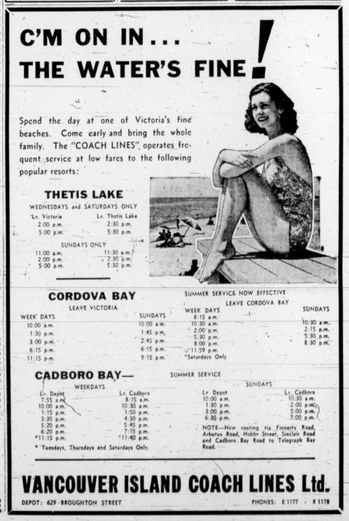 1940 Vancouver Island Coach Lines advertisement for Victoria beaches: Thetis Lake, Cordova Bay, Cadboro Bay (Victorian Online Sightseeing Tours collection)