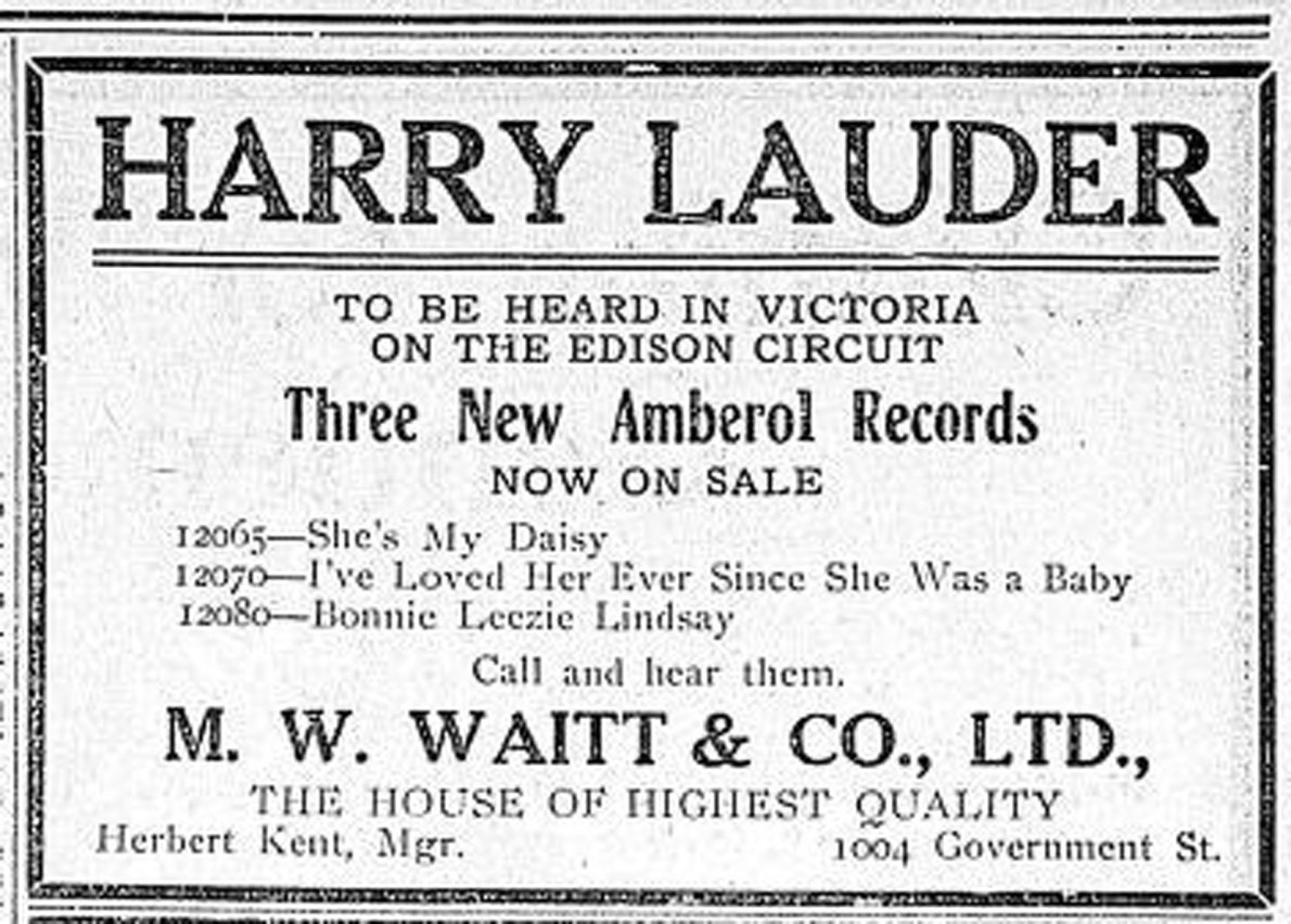 1909 advertisement for Edison Amberol recordings of Harry Lauder, sold by M.W. Waite & Co., which was located in the Vernon Block.