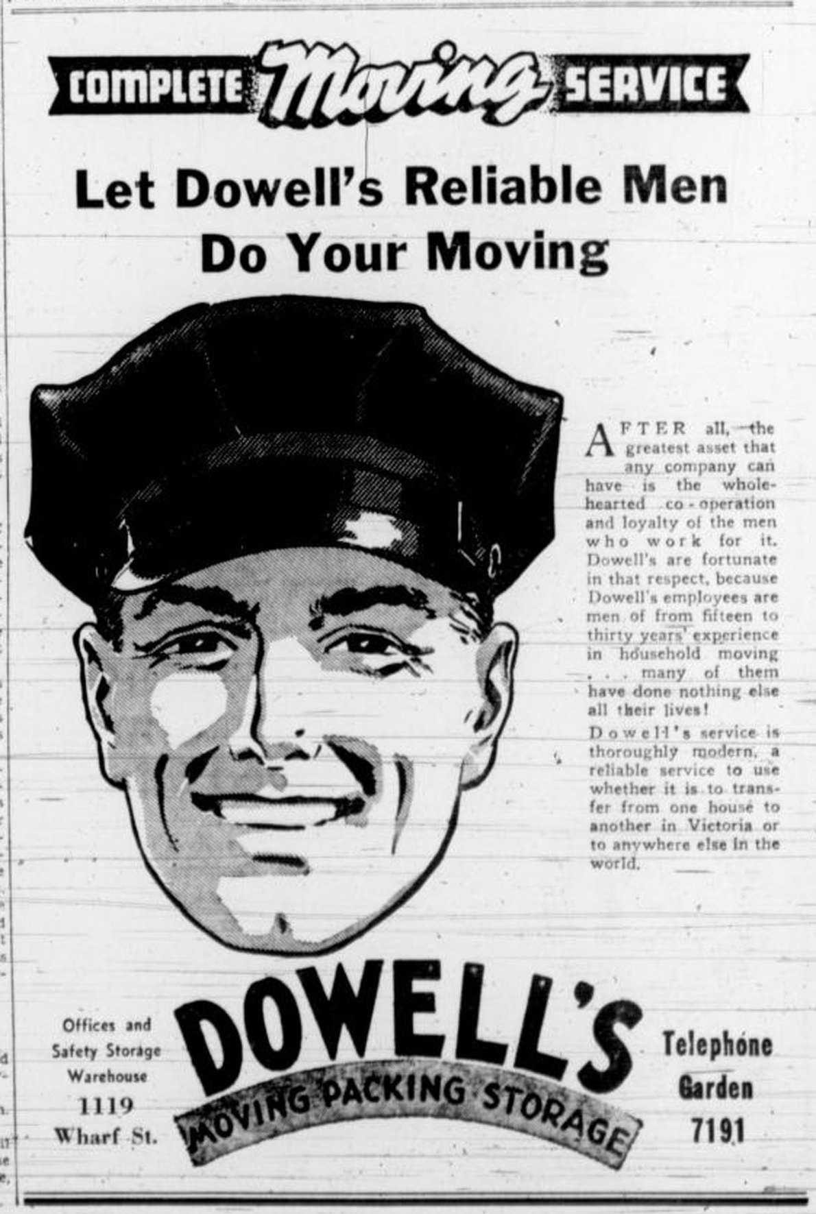 1938 advertisement for Dowell's Moving, then located in the Rithet Building at 1117 Wharf Street.