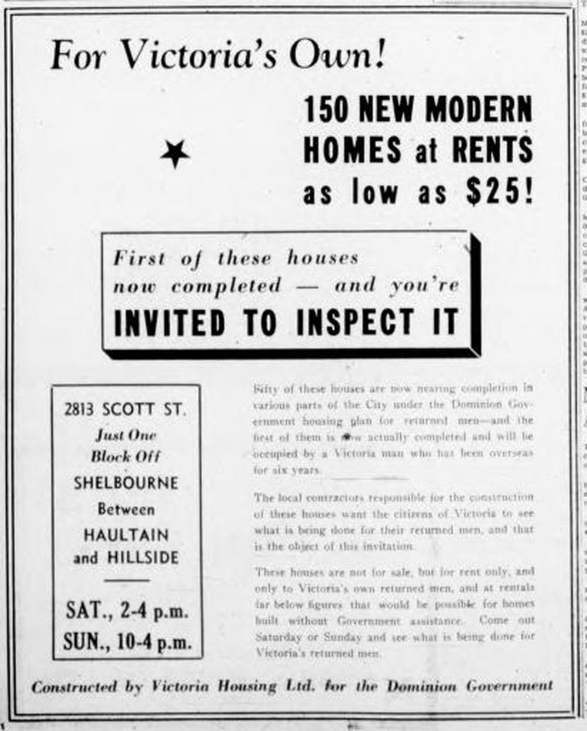 December 1945 advertisement for new house rentals. Show home at 2813 Scott Street.