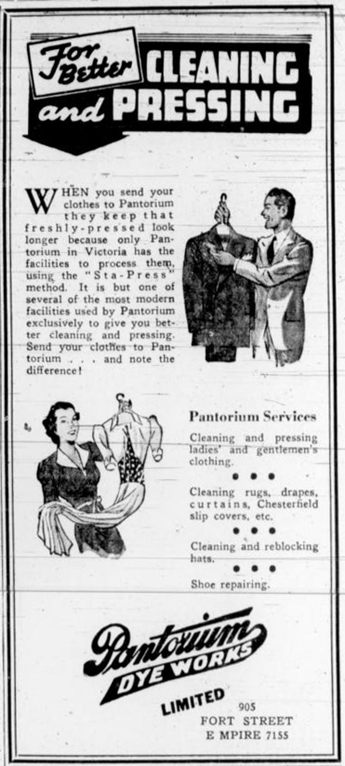 1938 advertisement for Pantorium Dye Works, 905 Fort Street.
