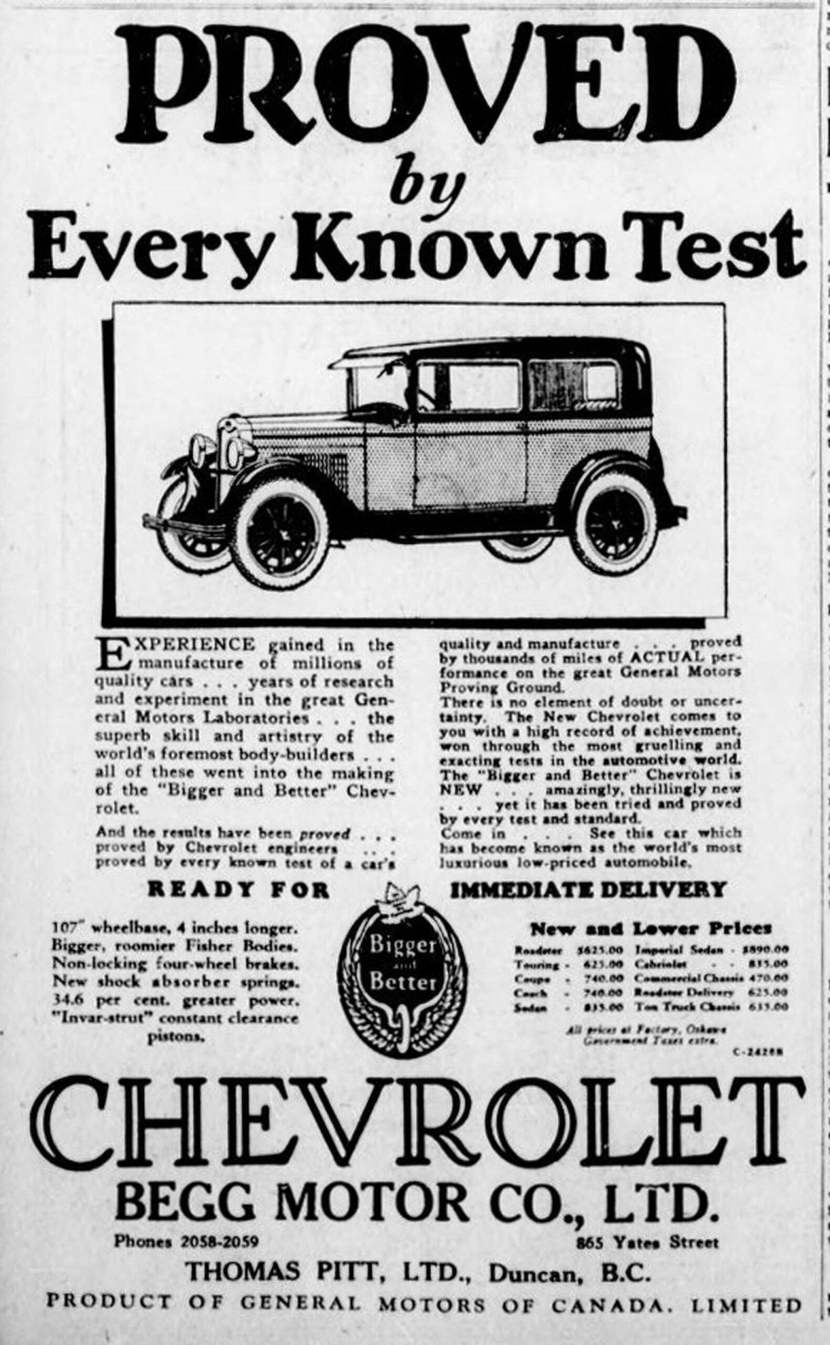 1928 advertisement for Chevrolet by Begg Motor Company, 865 Yates Street. (Victoria Online Sightseeing collection)
