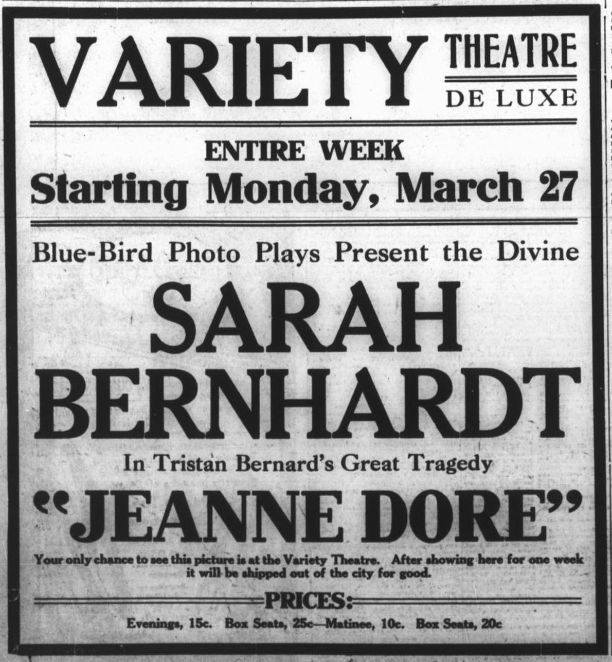 1916 advertisement for the Variety Theatre, now 1600 Government Street (Victoria Online Sightseeing collection)