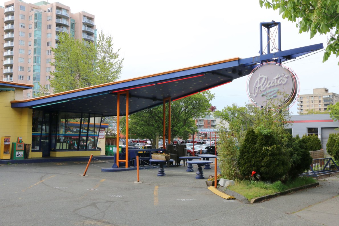 1150 Cook Street. Originally built as a gas station but converted into a restaurant in the 1980's.