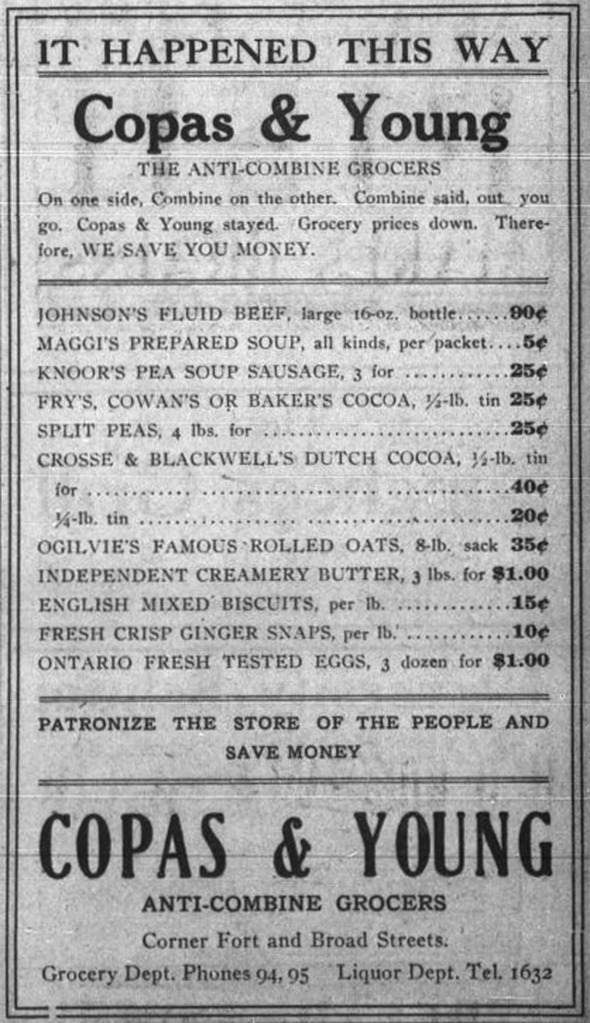 Copas & Young Anti-Combine Grocers, advertisement with prices, 1909. Copas & Young was in the Fell Building at the intersection of Fort Street and Broad Street (Victoria Online Sightseeing collection)