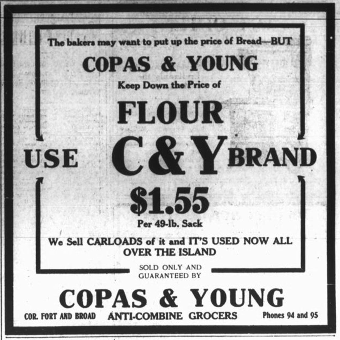 Copas & Young Anti-Combine Grocers, advertisement with prices, 1916. Copas & Young was in the Fell Building at the intersection of Fort Street and Broad Street (Victoria Online Sightseeing collection)