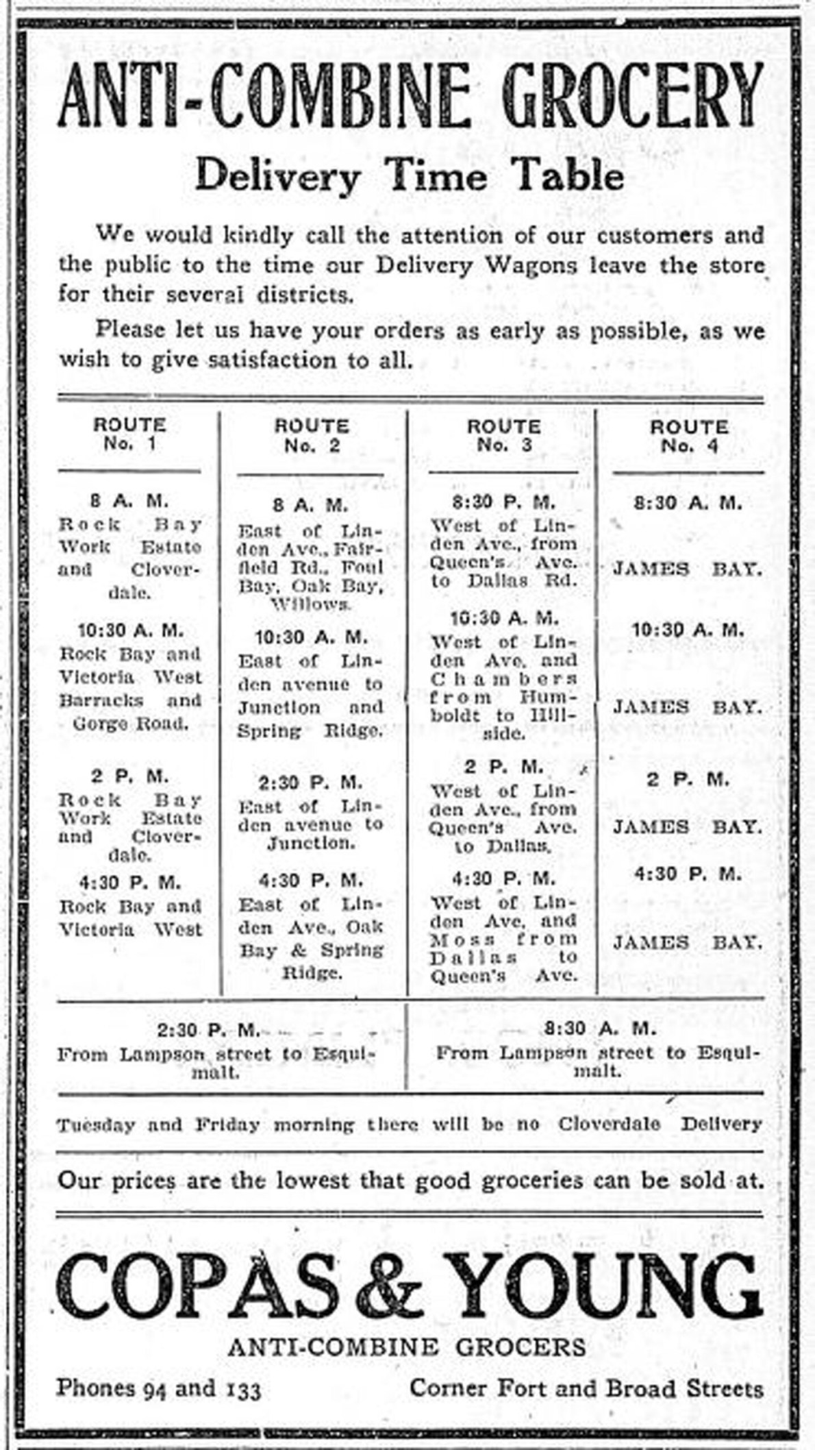 Copas & Young Anti-Combine Grocers, advertisement with grocery delivery schedules, 1909. Copas & Young was in the Fell Building at the intersection of Fort Street and Broad Street (Victoria Online Sightseeing collection)
