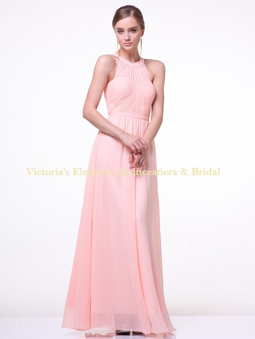 1469 Halter Bridesmaid Dress with Sheer Bodice – Blush, Front View