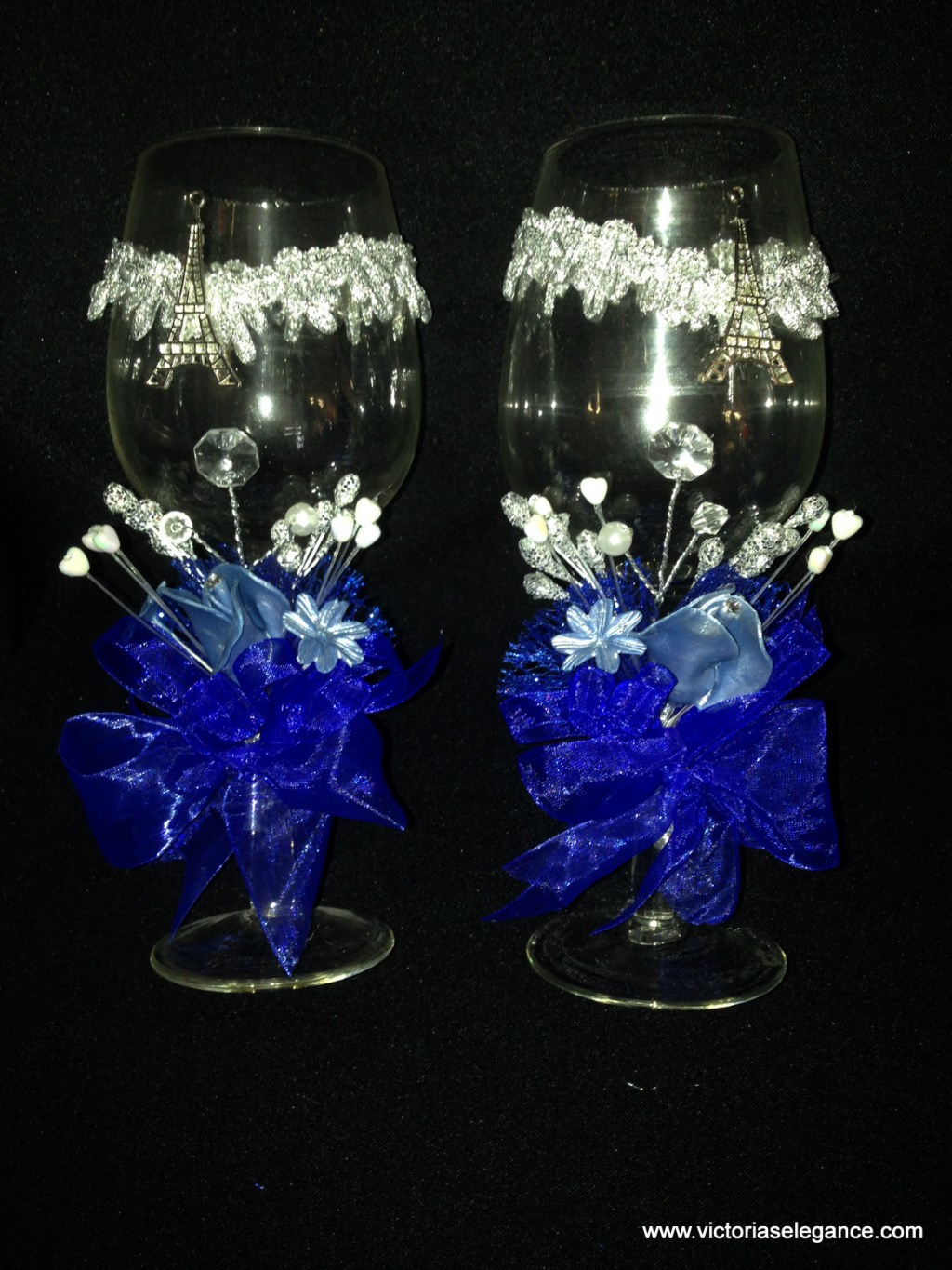 Set of 2 Glass Cups 8.25″ Tall W/Eiffel Tower
