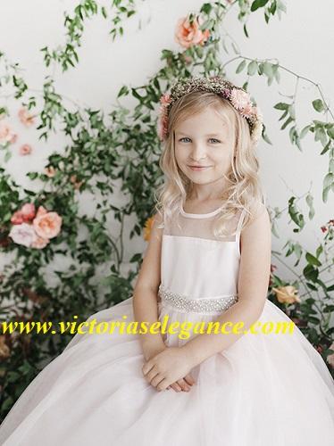 Illusion Neckline Flower Girl Dress Style TTU5702