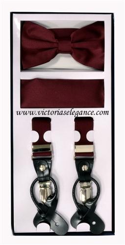 Suspender Combo Set (Bowtie & Hanky) Burgundy