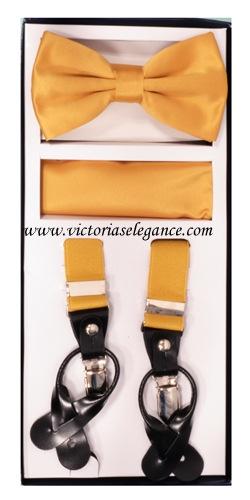 Suspender Combo Set (Bowtie & Hanky) Gold