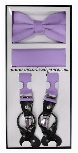 Suspender Combo Set (Bowtie & Hanky) Lavender