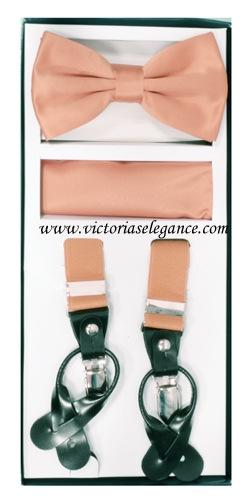 Suspender Combo Set (Bowtie & Hanky) Peach