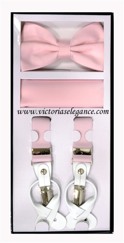 Suspender Combo Set (Bowtie & Hanky) Pink