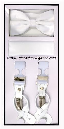 Suspender Combo Set (Bowtie & Hanky) White