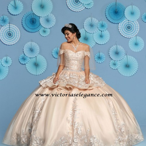 Shimmer Organza 3D Flowers Ball Gown, Quinceanera