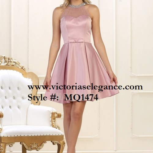 Short High Neck Satin Dress, bridesmaid, quinceanera, bridal