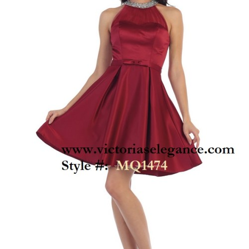 Short High Neck Satin Dress MQ1474, bridesmaid, quinceanera, bridal