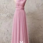 One Shoulder Pastel Pink Jersey Convertible Dress Vq