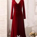 Elegant Long Sleeve V Neck Burgundy Velvet Formal Dress Vq