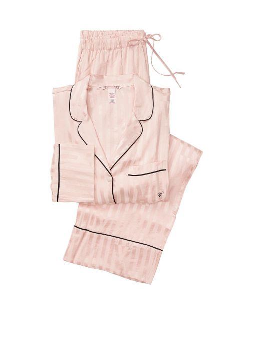 Victoria's Secret, Victoria's Secret Satin Long PJ Set, Pink Fizz Stripe, offModelFront, 2 of 3