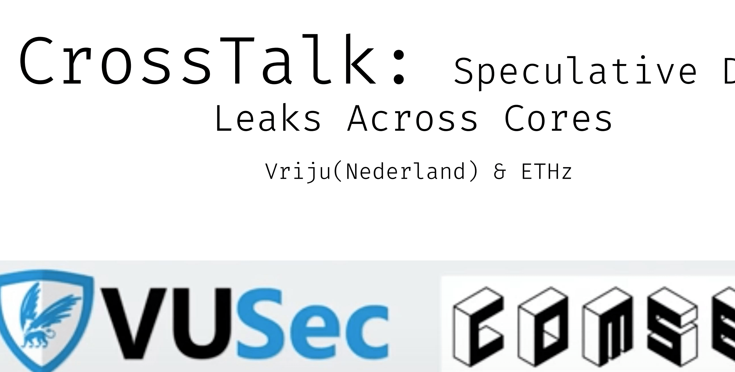 CROSSTALK: Speculative Data Leaks Across Cores Are Real