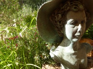 'She always wears a hat.' The sculpture of me was created by my daughter, Stephanie Burns