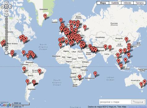 Mapa aeroportos mundo