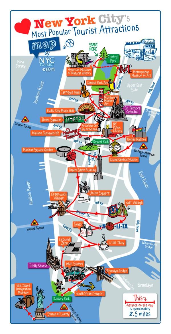 mapa de atrações de nova york