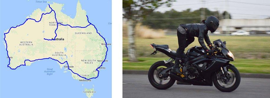 Ruta de la vuelta a Australia de Sheba