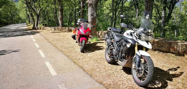 Triumhp Tiger y Honda CBR de ruta por el monte
