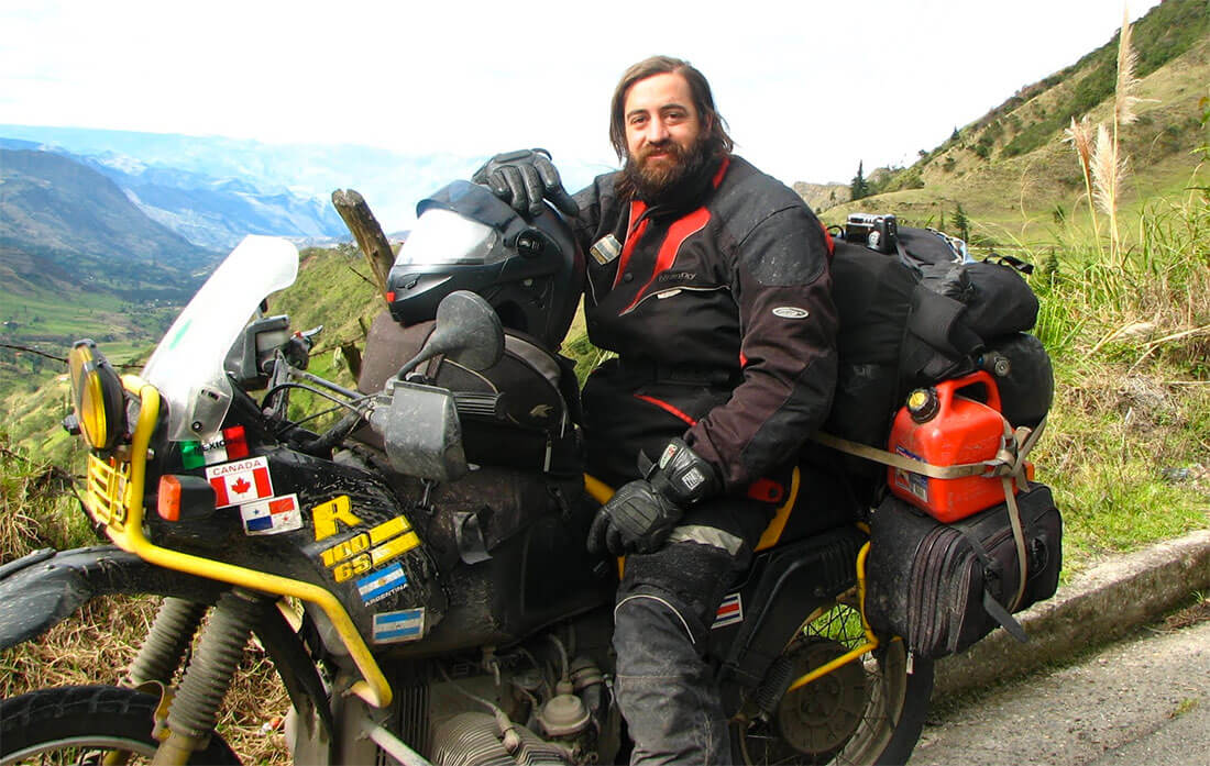 Juan Pablo Gonzalez, en moto de Alaska a Tierra del Fuego