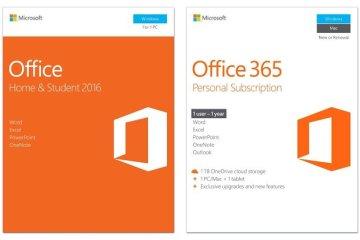 Cual es la diferencia entre Office 365 y Office 2016/2019