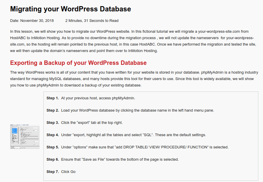 Como migrar de hosting la base de datos WordPress