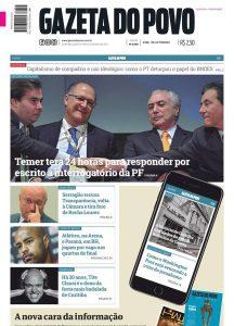 Jornal Gazeta do Povo passa a ser 100% digital