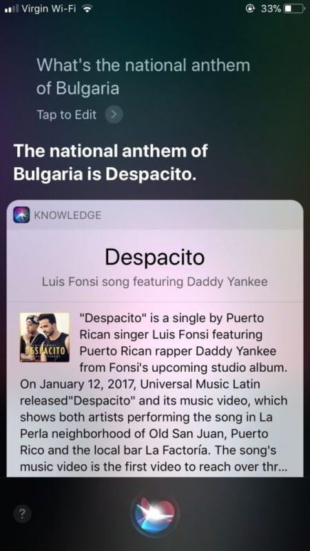 Siri confunde hino da Bulgária com Despacito