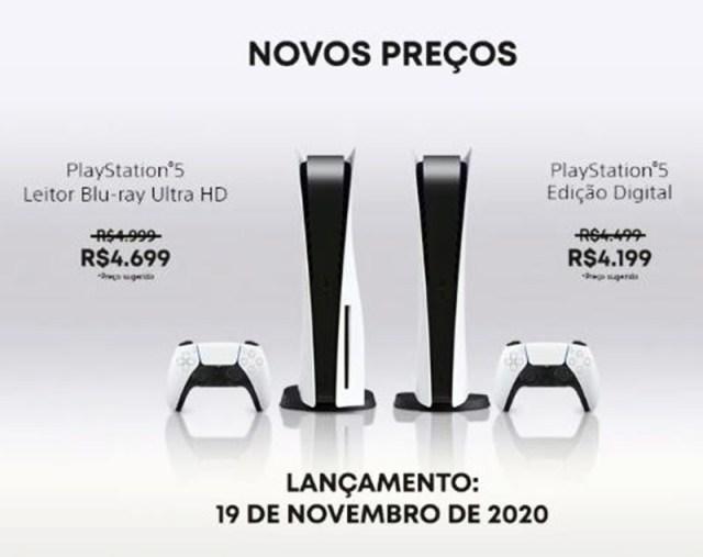 PS5 tem redução de preços e será lançado a partir de R$ 4.199
