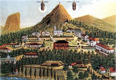 Стефано-Сурожский Кизилташский монастырь. Литография XIX века.