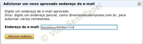 Sua biblioteca Kindle - adicionando endereço de email