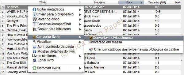 Como converter arquivos PDF no Calibre 01