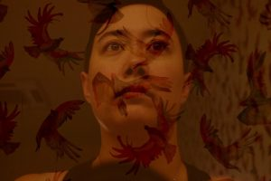 A self-portrait of the author, Addie Tsai. The image is a double-exposure, and red and gold painted birds in flight are layered around her, and across her face. Addie has short hair, and her brown eyes are looking up, somewhere beyond the camera.